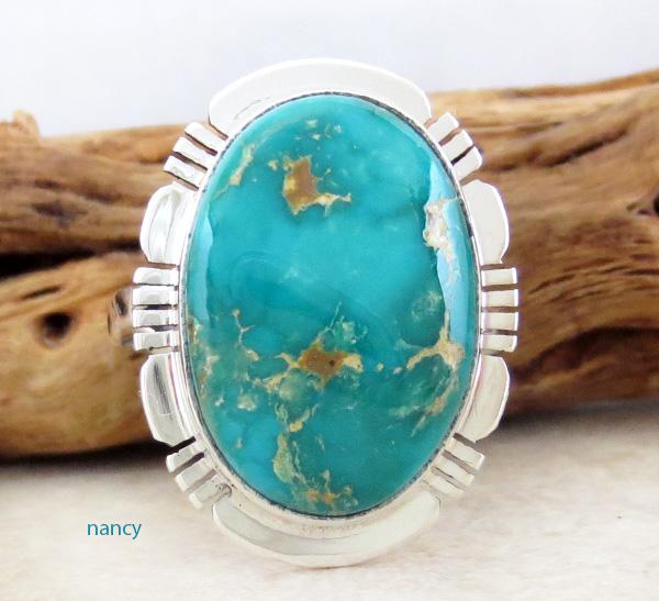 Kingman Turquoise & Sterling Silver Ring Size 7.75 San Felipe - 1742sn