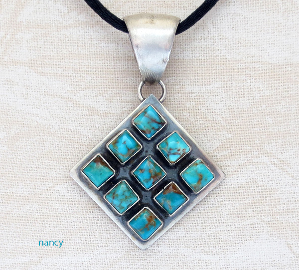 Multi Stone Turqoise & Sterling Silver Pendant Navajo Made - 1823tag