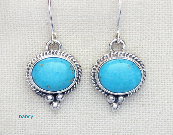 Sleeping Beauty Turquoise & Sterling Silver Earrings Navajo Made - 1734sn