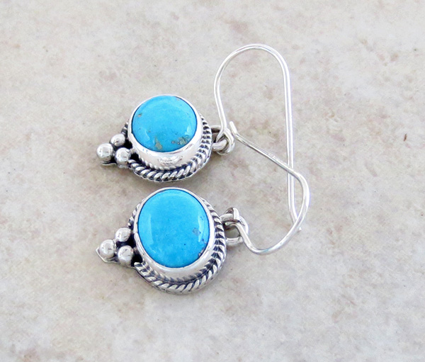 Image 1 of   Sleeping Beauty Turquoise & Sterling Silver Earrings Navajo Jewelry - 1734sn