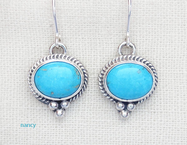 Image 0 of   Sleeping Beauty Turquoise & Sterling Silver Earrings Navajo Jewelry - 1734sn
