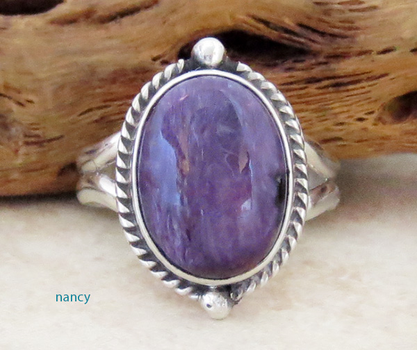 Sterling Silver & Charoite Ring Size 9 Navajo Made - 1947sn