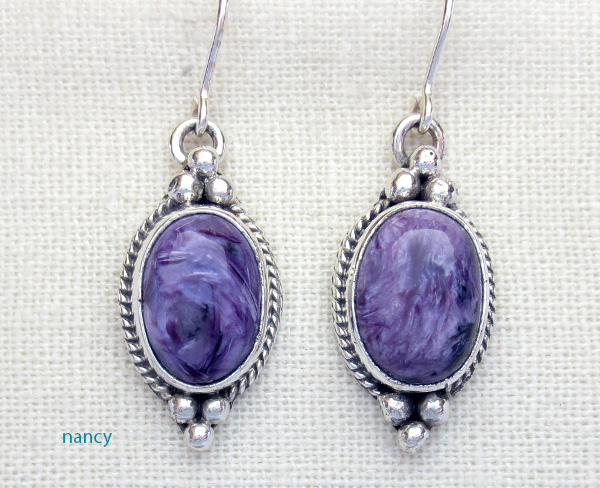 Navajo Made Charoite & Sterling Silver Earrings - 3821sn