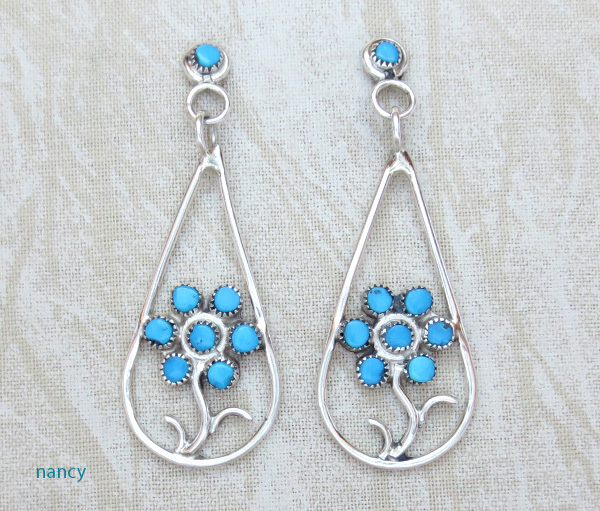 Turquoise Flower & Sterling Silver Earrings Zuni Made - 3573sn