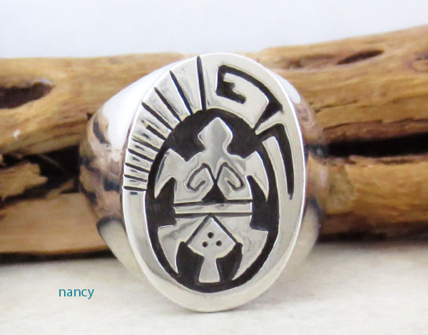 Sterling Silver Overlay Turtle Ring Size 11 Navajo Made - 1631rb