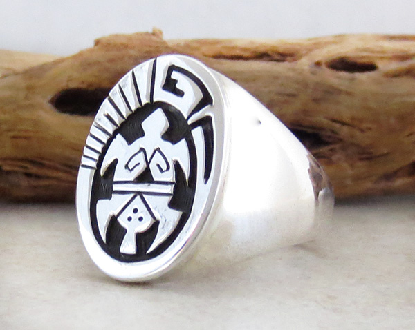 Image 2 of       Sterling Silver Overlay Turtle Ring Size 11 Navajo Made - 1631rb