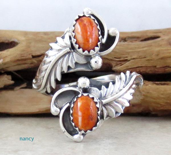Orange Spiny Oyster & Sterling Silver Adjustable Wrap Ring Navajo - 1622rb