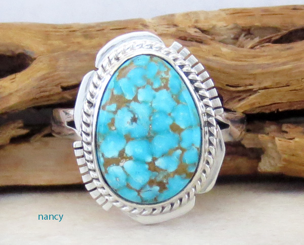 Turquoise Mountain Turquoise & Sterling Silver Ring Size 9.5 Navajo - 3832sn