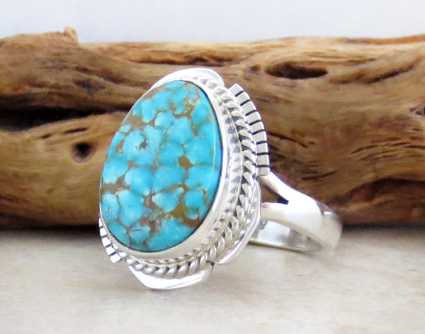 Image 2 of     Native American Jewelry Turquoise & Sterling Silver Ring Ss 9.5 - 3832sn