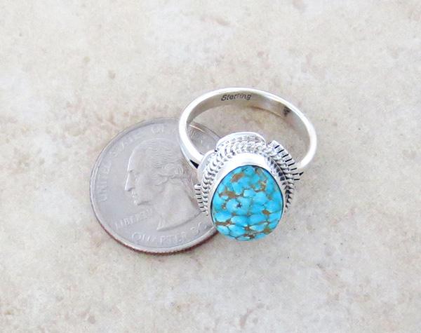 Image 3 of     Native American Jewelry Turquoise & Sterling Silver Ring Ss 9.5 - 3832sn