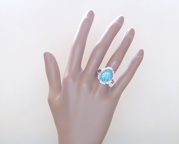Image 5 of     Native American Jewelry Turquoise & Sterling Silver Ring Ss 9.5 - 3832sn