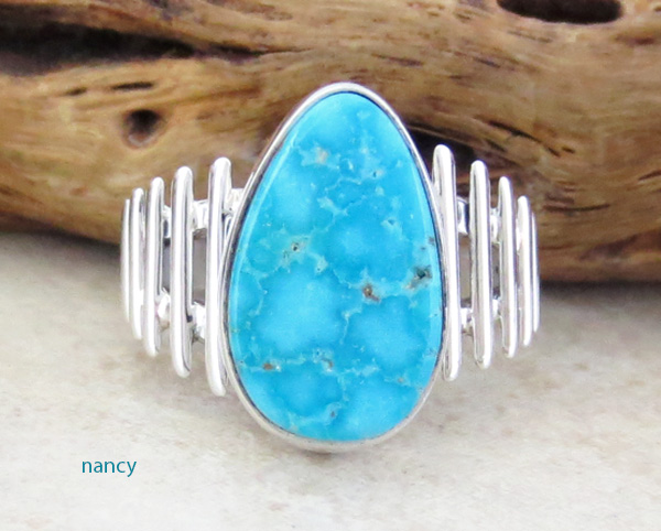 Turquoise Mountain Turquoise & Sterling Silver Ring Size 8 - 1637sn
