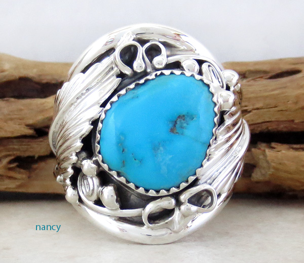 Classic  Turquoise & Sterling Silver Ring Size 10.25 Navajo Made - 1642rb