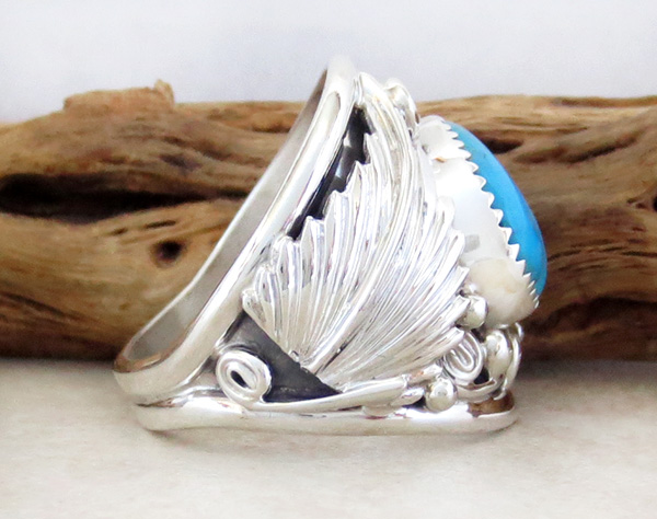 Image 1 of      Classic  Turquoise & Sterling Silver Ring Size 10.25 Navajo Made - 1642rb