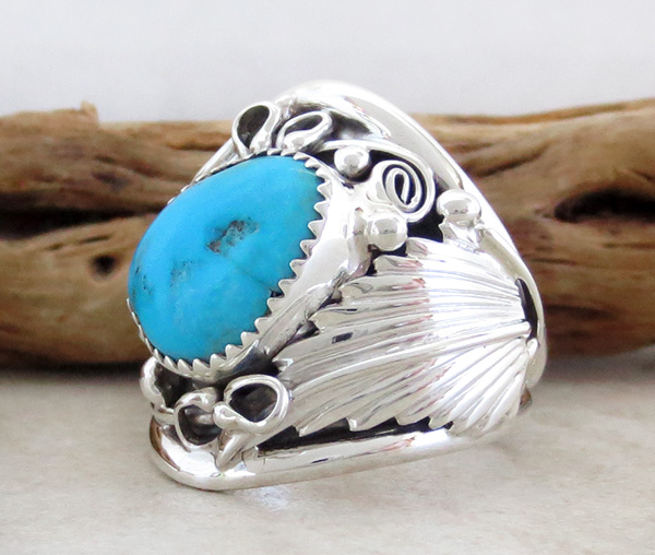 Image 2 of      Classic  Turquoise & Sterling Silver Ring Size 10.25 Navajo Made - 1642rb