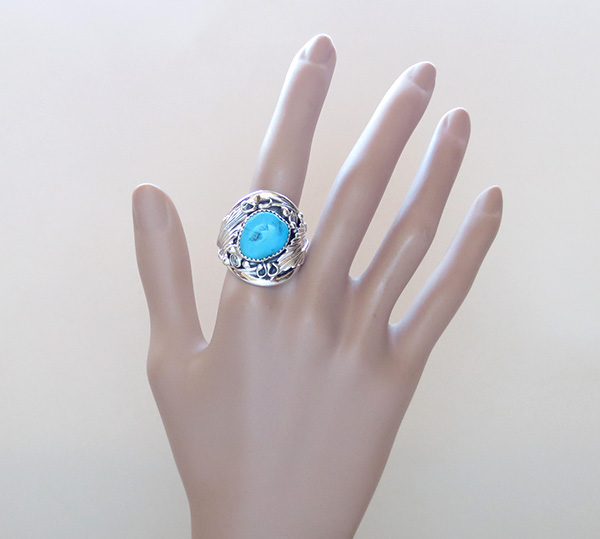 Image 5 of      Classic  Turquoise & Sterling Silver Ring Size 10.25 Navajo Made - 1642rb