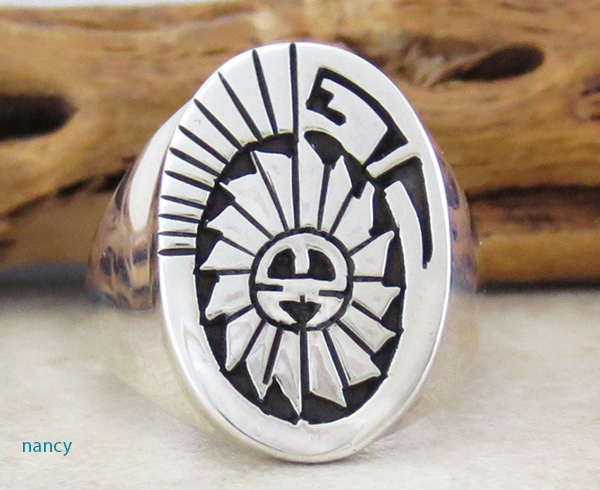 Sterling Silver Overlay Sun Ring Size 10.75 Calvin Peterson - 3834rb