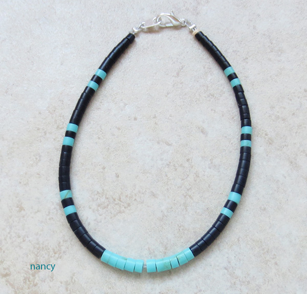 Turquoise & Black Jet Heishi Ankle Bracelet Kewa - 3835rio