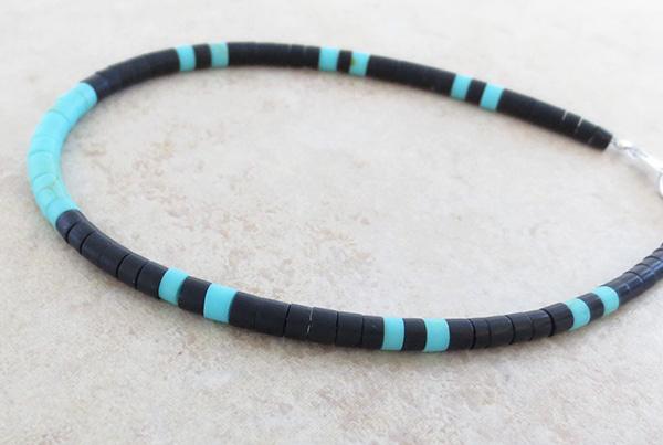 Image 1 of Turquoise & Black Jet Heishi Ankle Bracelet Jewelry- 3835rio
