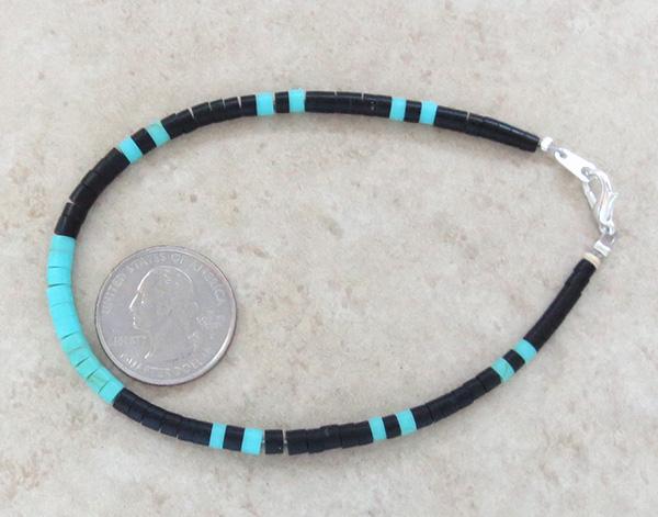 Image 2 of Turquoise & Black Jet Heishi Ankle Bracelet Jewelry- 3835rio