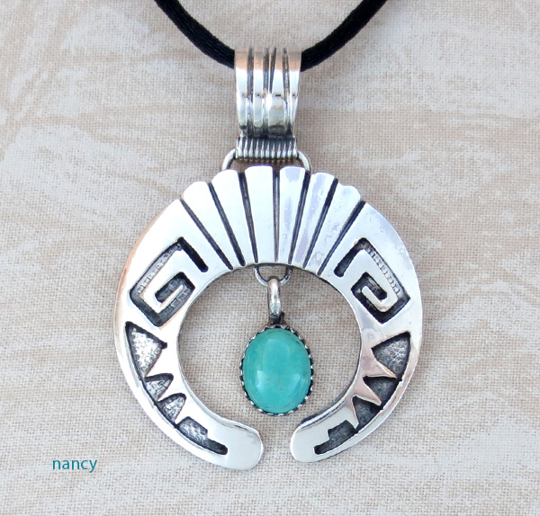 Turquoise & Sterling Silver Overlay Naja Pendant C Yazzie - 3839rb