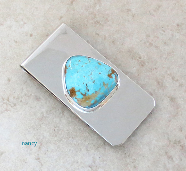 Image 0 of Navajo Made Blue & Gold Turquoise Money Clip - 3840sn