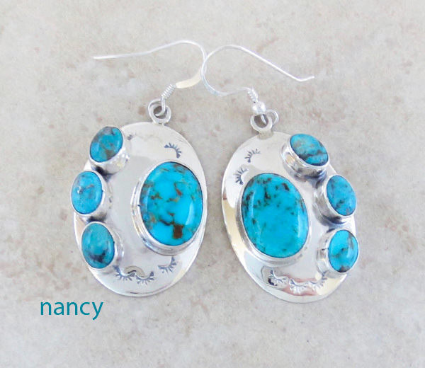 Image 0 of      Turquoise & Sterling Silver Earrings Native American Jewelry- 3841tag