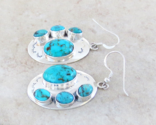 Image 1 of      Turquoise & Sterling Silver Earrings Native American Jewelry- 3841tag
