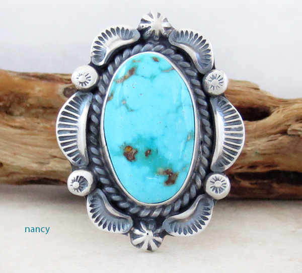 Image 0 of Large Old Style Turquoise & Sterling Silver Ring Size 10.25 Navajo Made - 3752pl
