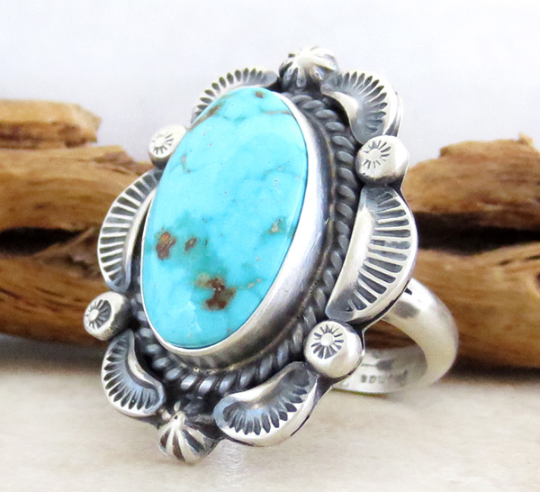 Image 2 of Large Old Style Turquoise & Sterling Silver Ring Size 10.25 Navajo Made - 3752pl