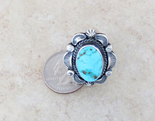 Image 3 of Large Old Style Turquoise & Sterling Silver Ring Size 10.25 Navajo Made - 3752pl