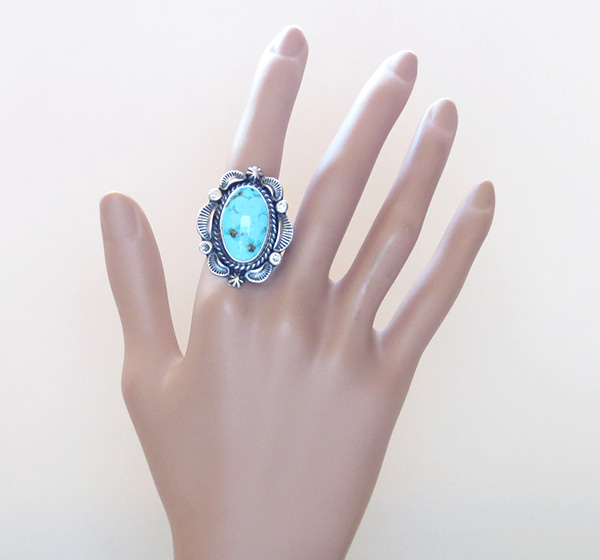 Image 5 of Large Old Style Turquoise & Sterling Silver Ring Size 10.25 Navajo Made - 3752pl