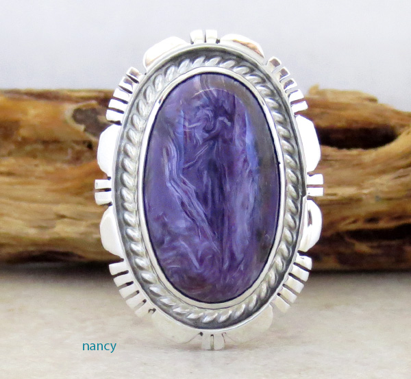 Charoite & Sterling Silver Ring Size 9 Navajo Made - 1915rio