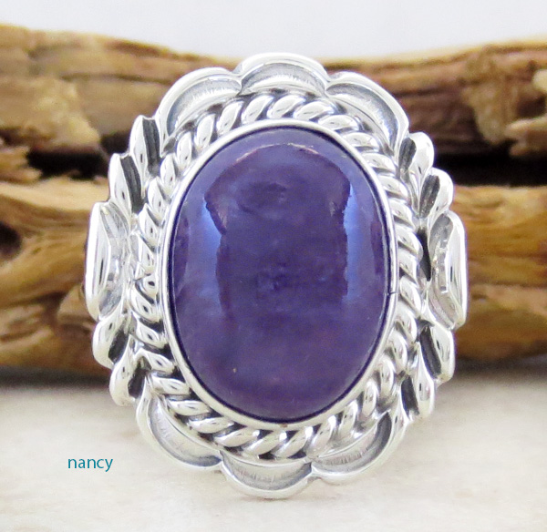 Charoite & Sterling Silver Ring Size 9 Navajo Made - 3631rio