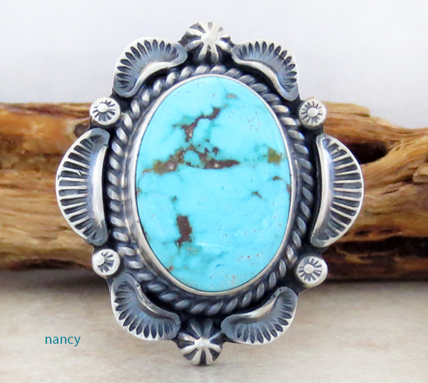 Large Old Style Turquoise & Sterling Silver Ring Size 8.75 Navajo - 3632pl