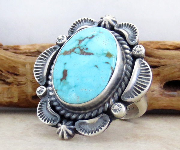 Image 2 of      Large Old Style Turquoise & Sterling Silver Ring Size 8.75 Navajo - 3632pl