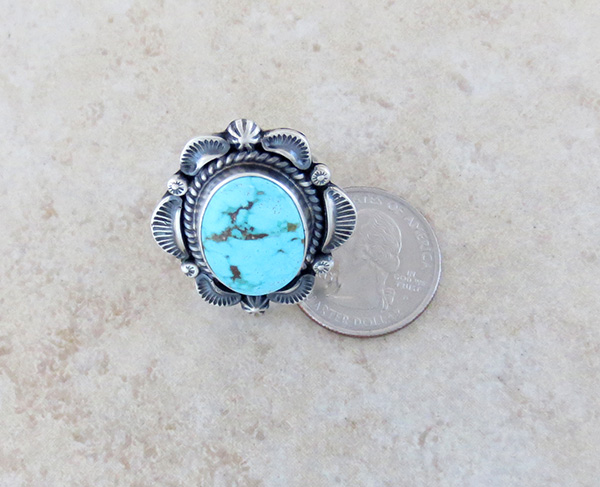 Image 3 of      Large Old Style Turquoise & Sterling Silver Ring Size 8.75 Navajo - 3632pl