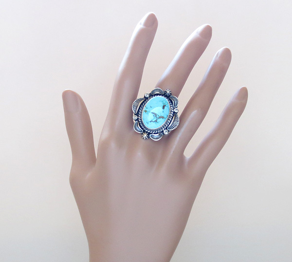 Image 5 of      Large Old Style Turquoise & Sterling Silver Ring Size 8.75 Navajo - 3632pl