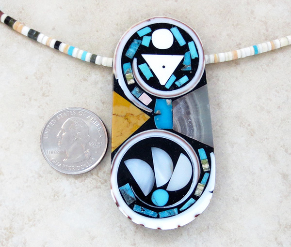 Kewa Turquoise Shell Inlay Pendant & Heishi Necklace Mary Tafoya - 3845mlt