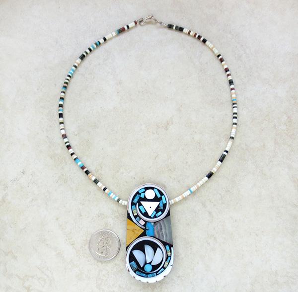 Image 1 of Kewa Turquoise Shell Inlay Pendant & Heishi Necklace Mary Tafoya - 3845mlt