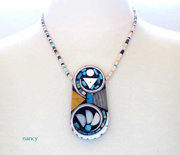 Image 2 of Kewa Turquoise Shell Inlay Pendant & Heishi Necklace Mary Tafoya - 3845mlt
