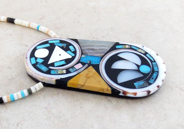 Image 3 of Kewa Turquoise Shell Inlay Pendant & Heishi Necklace Mary Tafoya - 3845mlt