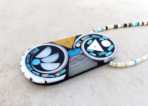 Image 4 of Kewa Turquoise Shell Inlay Pendant & Heishi Necklace Mary Tafoya - 3845mlt
