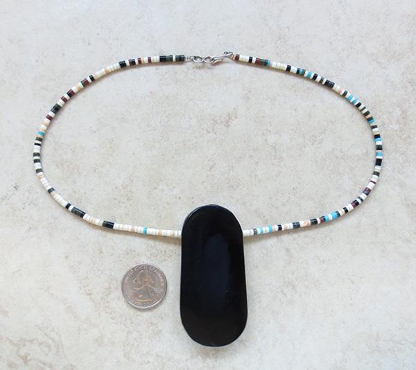 Image 5 of Kewa Turquoise Shell Inlay Pendant & Heishi Necklace Mary Tafoya - 3845mlt
