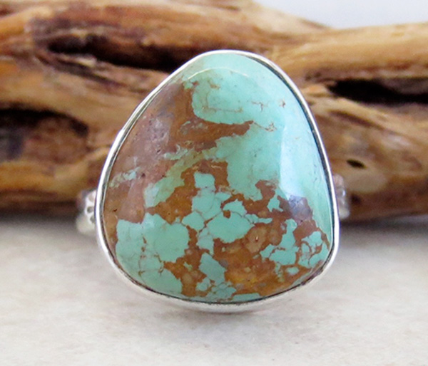 Green & Gold Boulder Turquoise & Sterling Silver Ring size 8 Navajo - 3308sn
