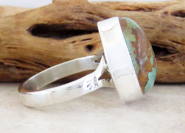 Image 1 of Boulder Turquoise & Sterling Silver Ring size 8 Native American Jewelry - 3308sn