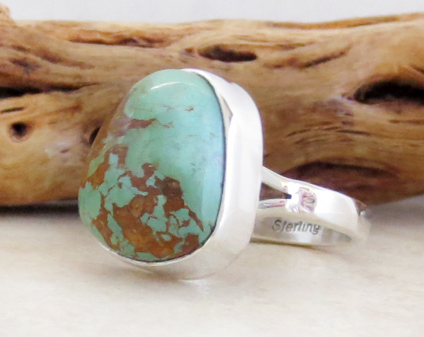 Image 2 of Boulder Turquoise & Sterling Silver Ring size 8 Native American Jewelry - 3308sn