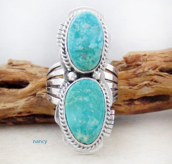 Large Turquoise Mountain Turquoise Ring Size 9 Navajo - 3309sn