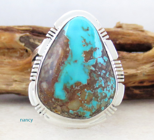 Boulder Turquoise & Sterling Silver Ring Size 8 Native American - 2871sn