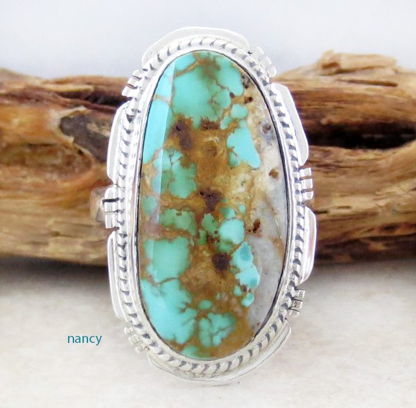 Boulder Turquoise & Sterling Silver Ring Size 7.25 Navajo Made - 2873sn